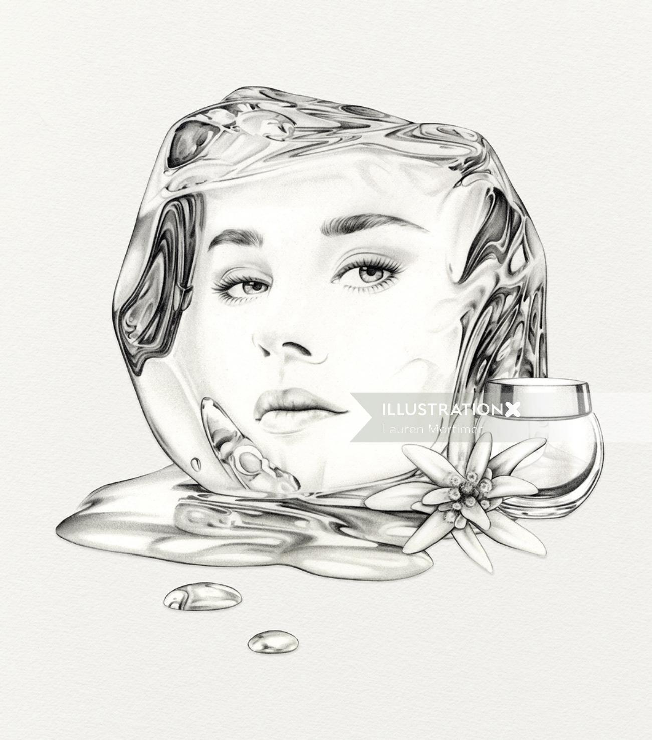 Pencil drawing of a female face