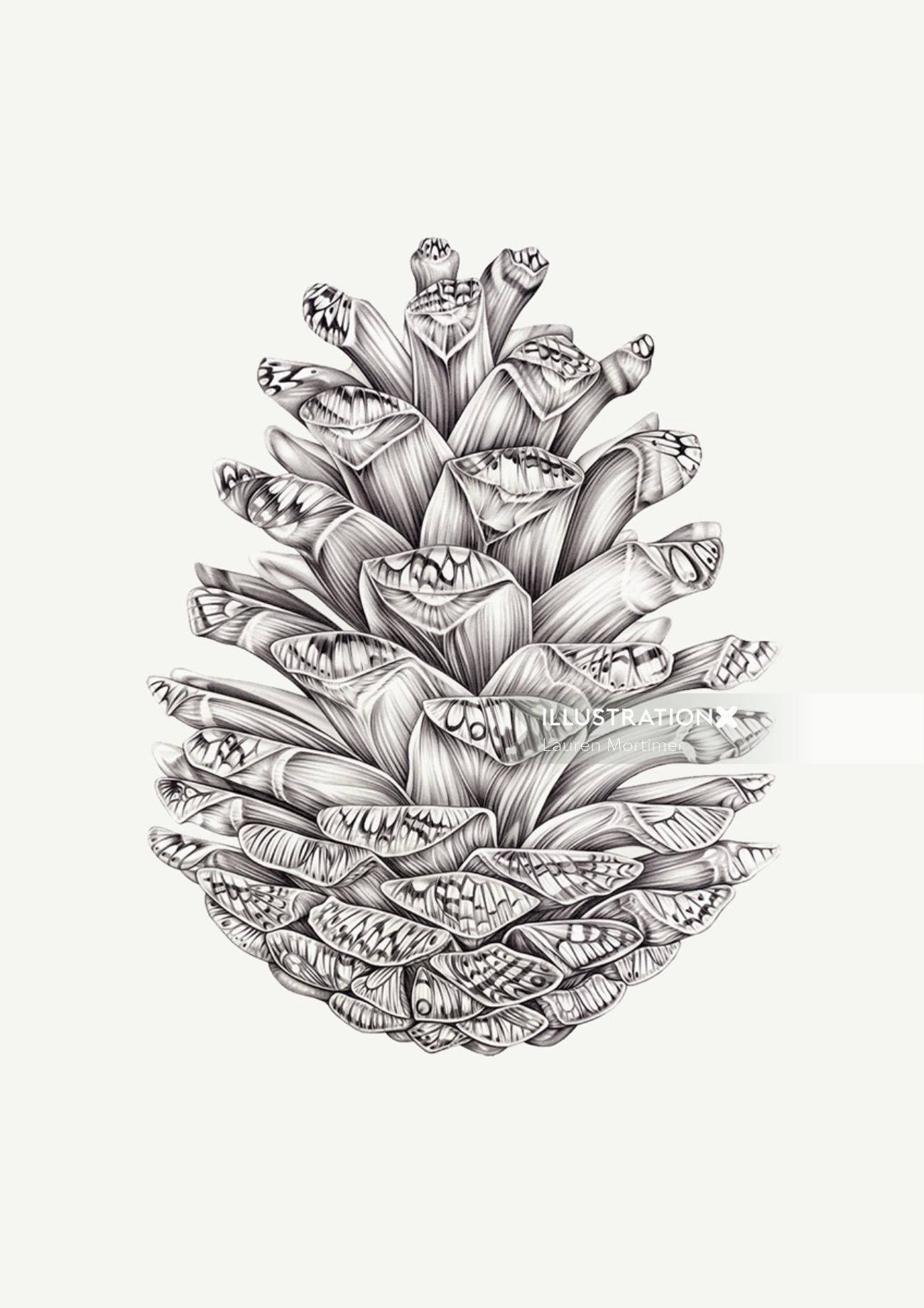 Pencil drawing of flower boket