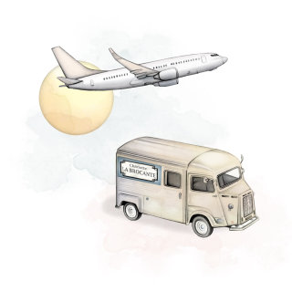 Bus and airplane drawing