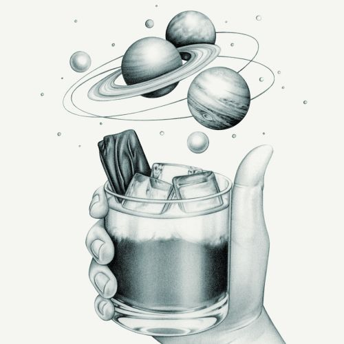 The Hitchhiker's Guide to the Galaxy' Cocktail illustration