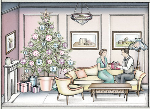 Man giving christmas gift to woman drawing