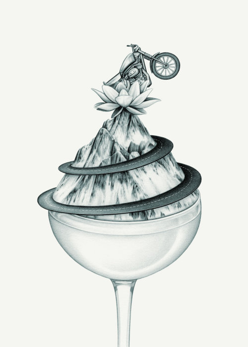 Zen and the Art of Motorcycle Maintenance' Cocktail Illustration