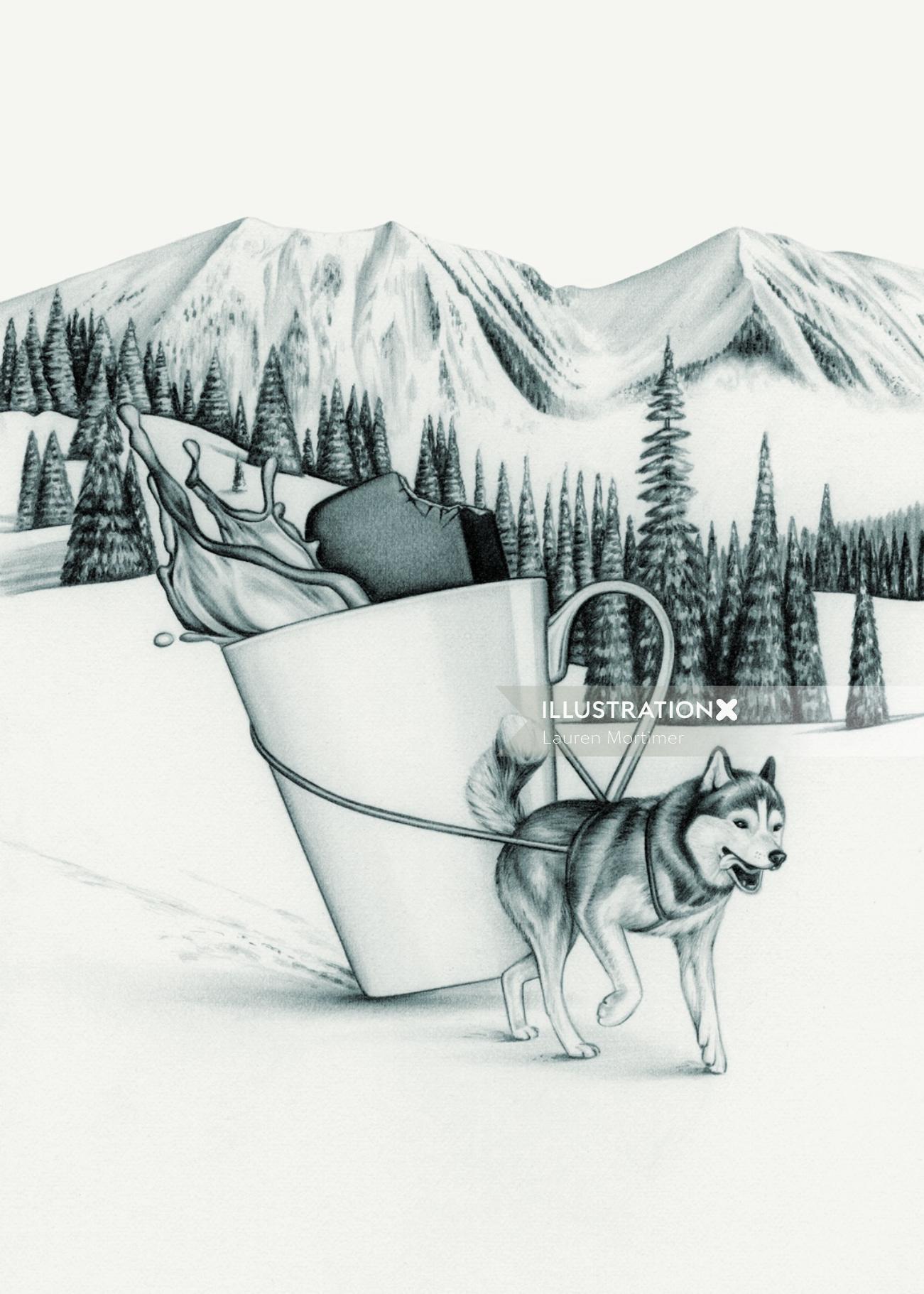 Dog carrying wtaer mug