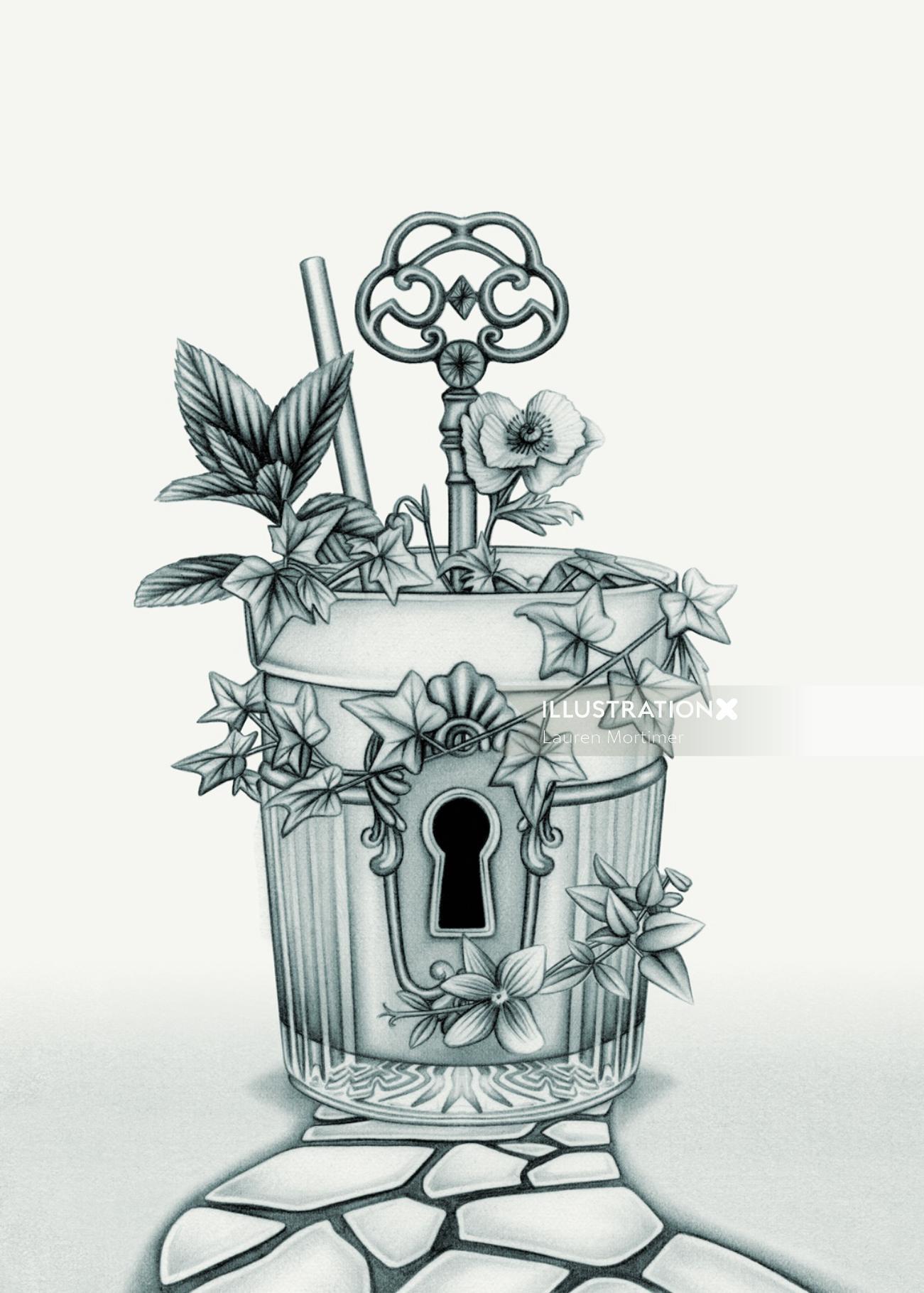 Seagram's Garden 'The Secret Garden' Cocktail Illustration