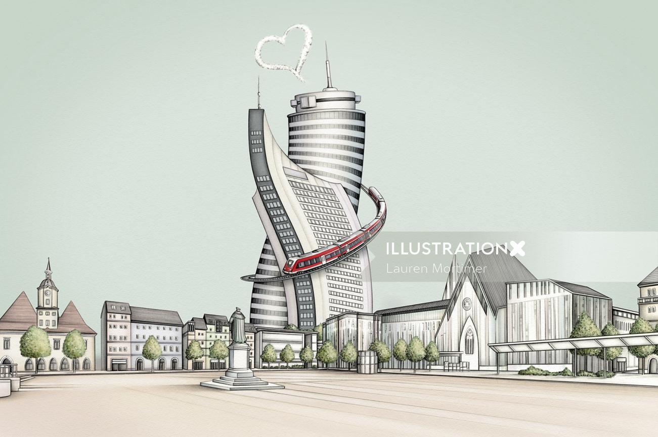 Architectural illustration by Lauren Mortimer