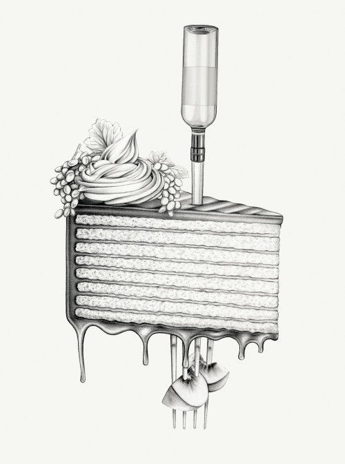 surreal cake drawing