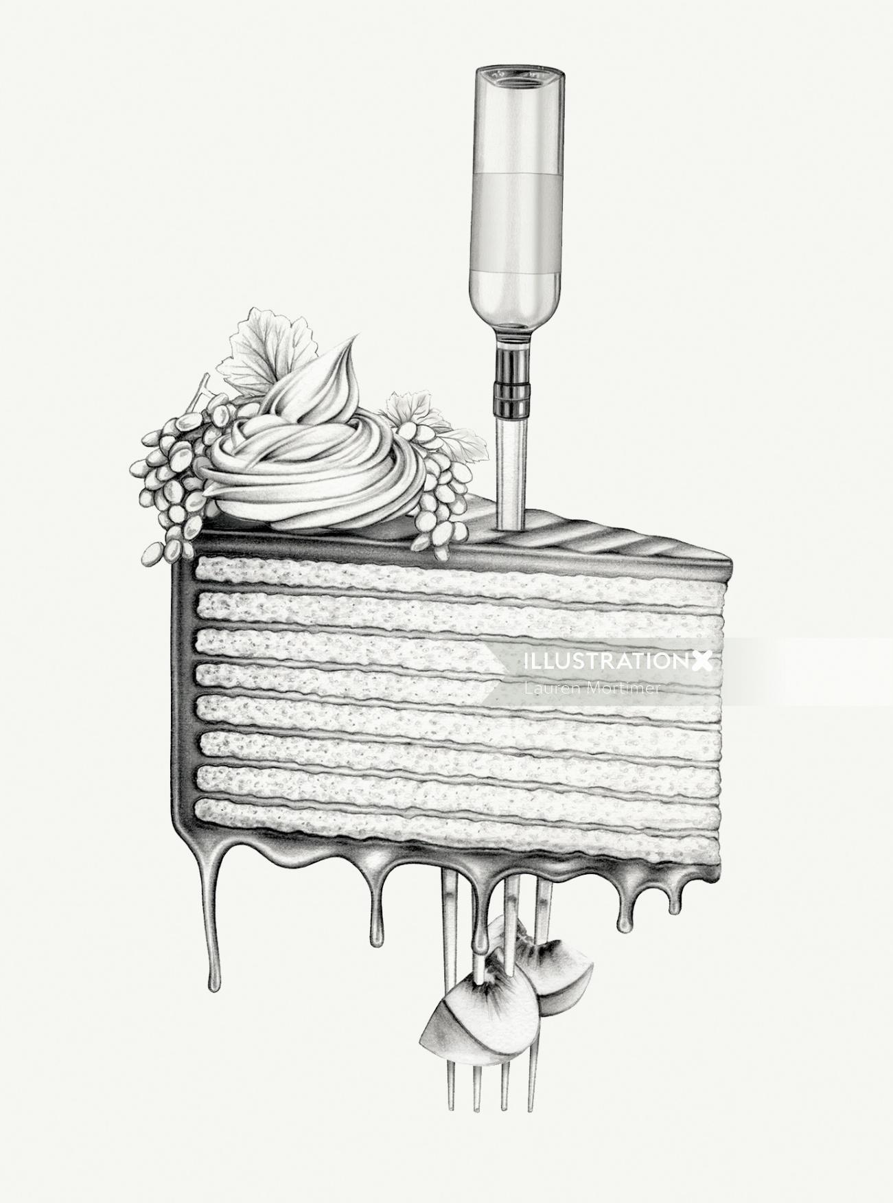 surreal cake drawing