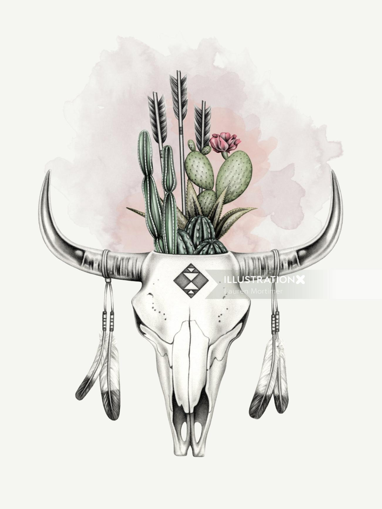 Pencil drawing of cow skull with cactus
