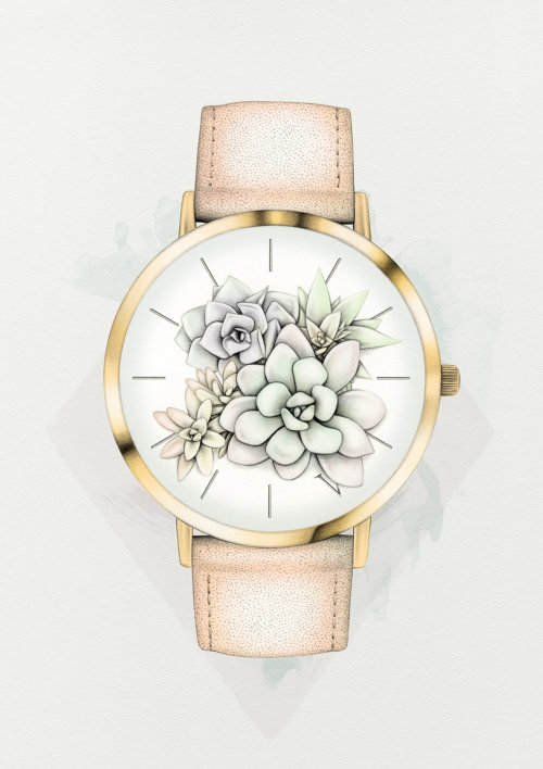 Floral watch watercolor illustration by Lauren Mortimer