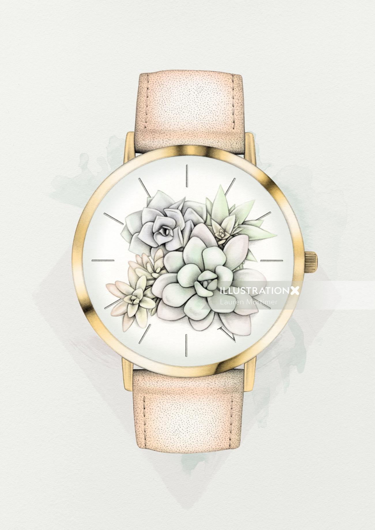 Floral watch watercolor illustration by Lauren Mortimer