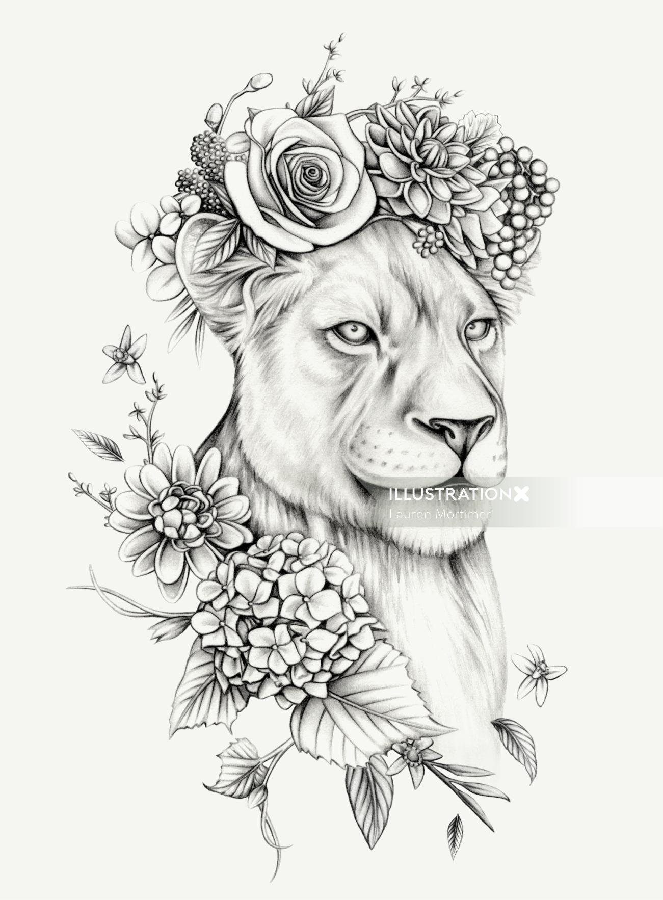 Botanical art of Lioness with Flower Crown
