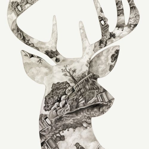 Reindeer  shaped collage