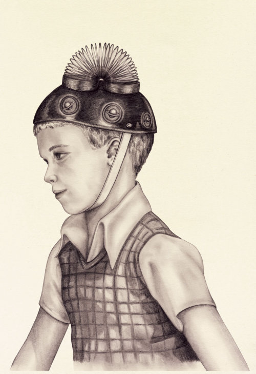 Boy with technical helmet