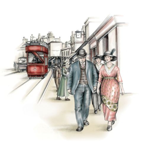 First World War, street scene, bus, crowd, couple, retro, 1920's