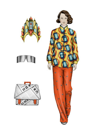 Fashion illustration of beautiful lady with accessories