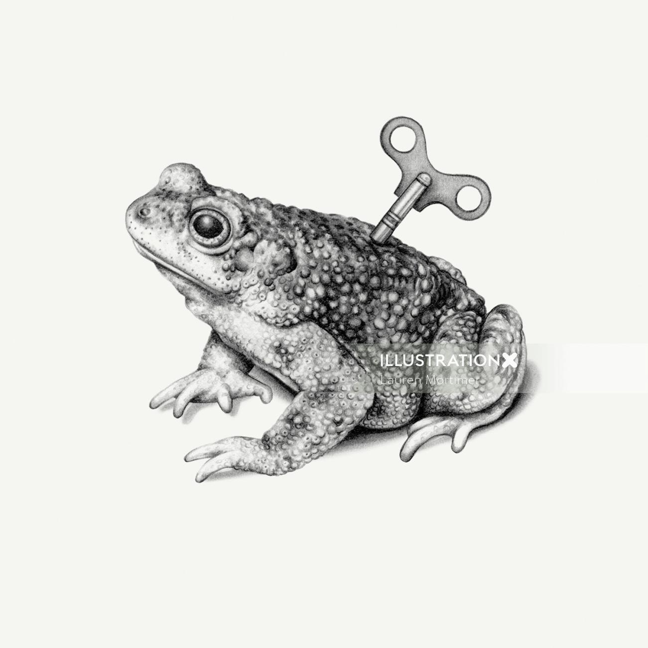Pencil art of mechanical toad