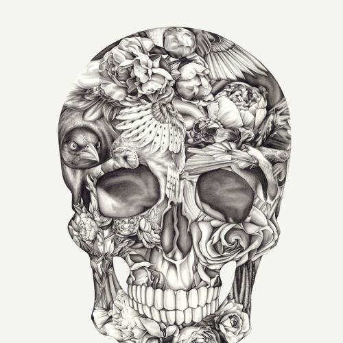 Halloween skull pencil art