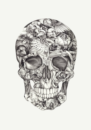Halloween skull pencil art