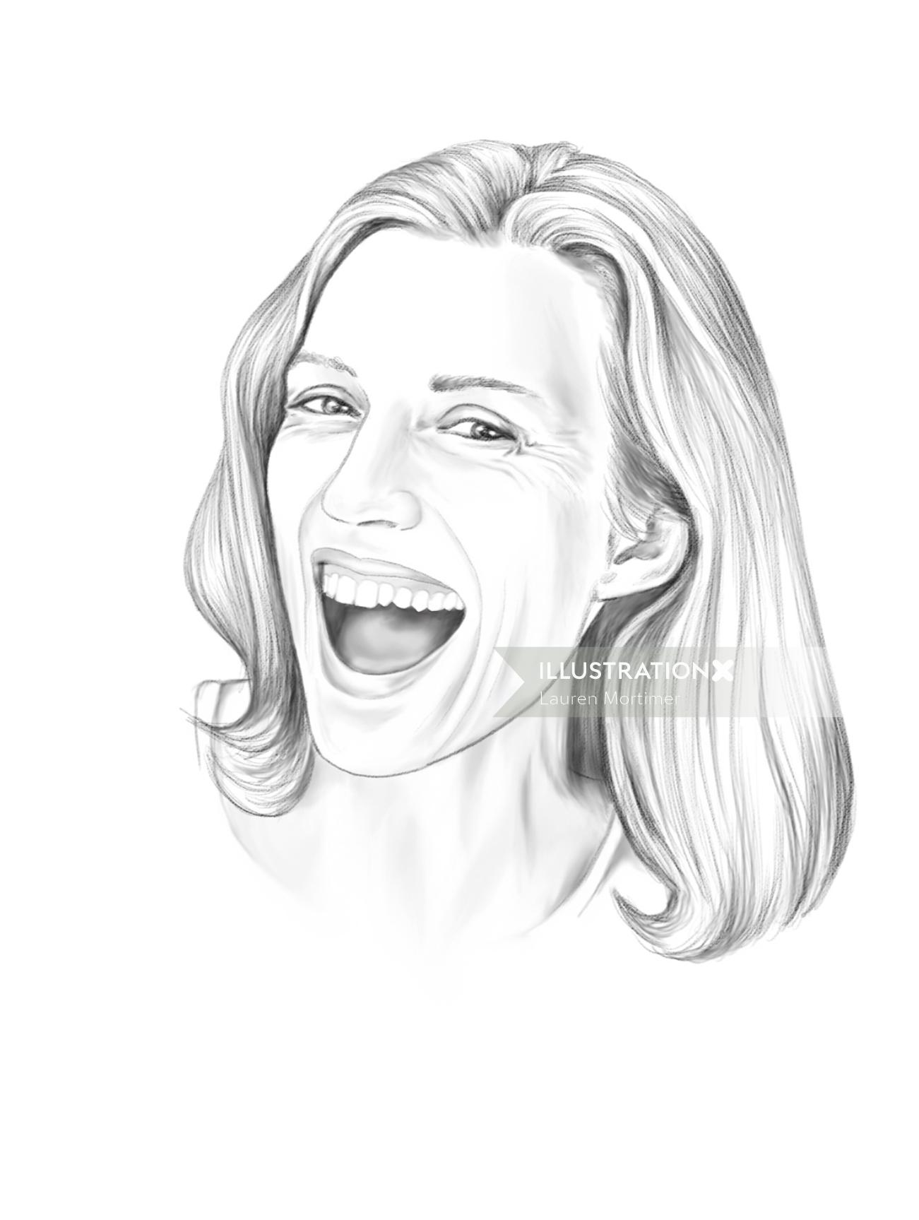 Pencil portrait of laughing woman