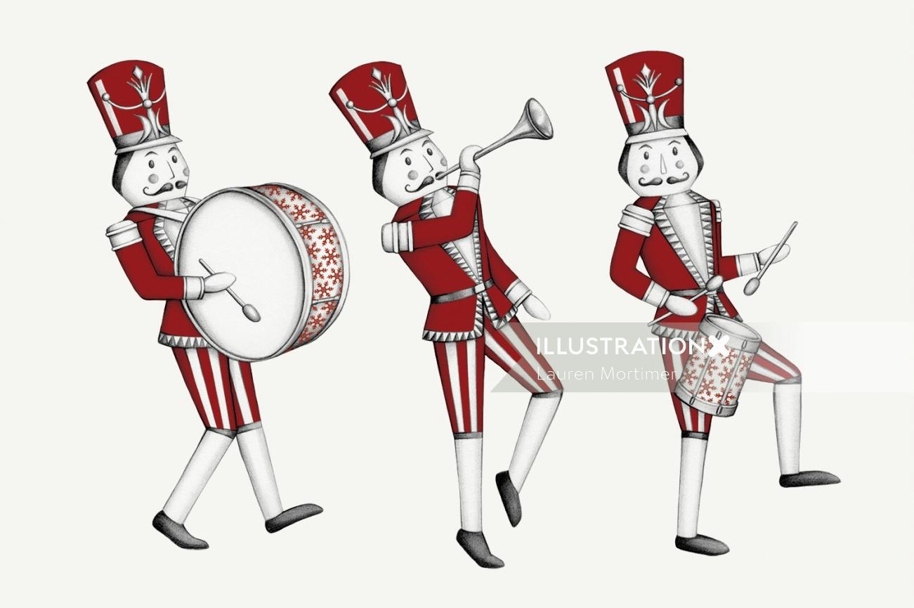 Realistic painting of nutcracker toy soldiers