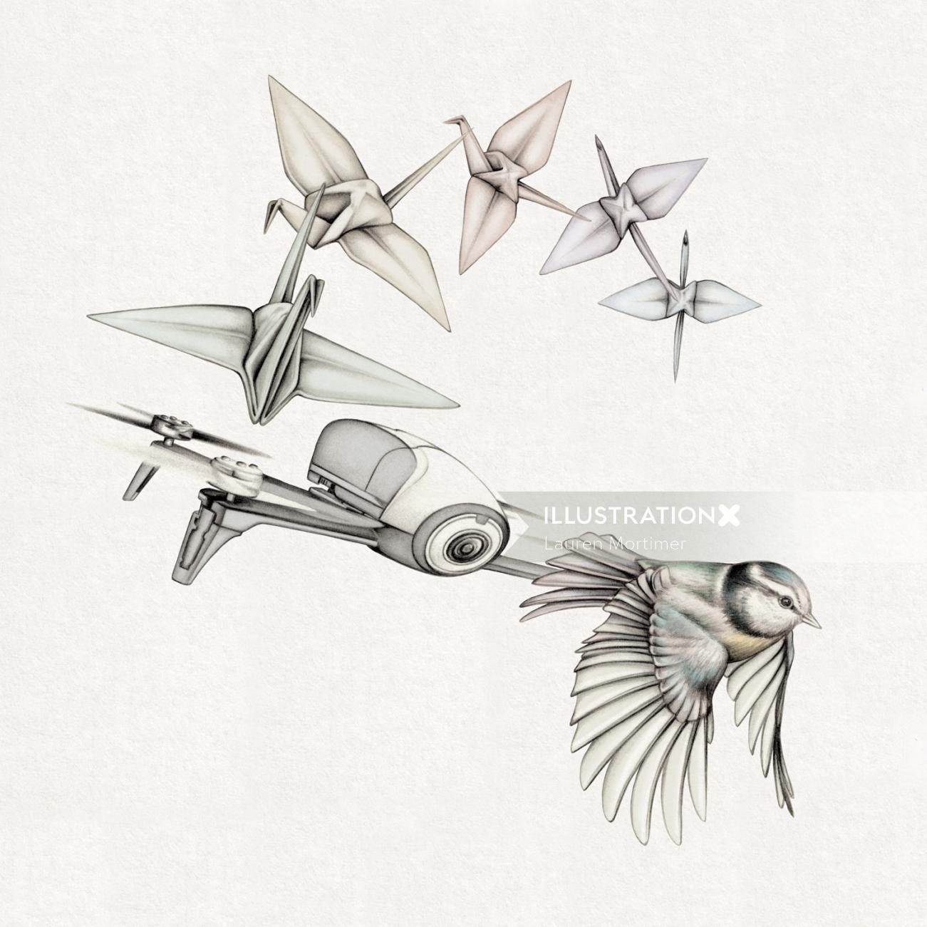 Birds flying in queue