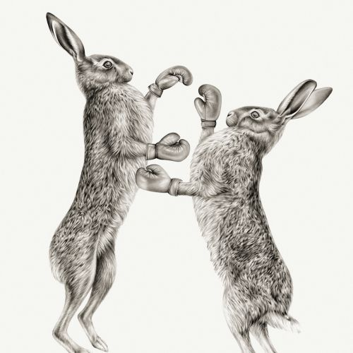 Boxing Hares - Realistic painting