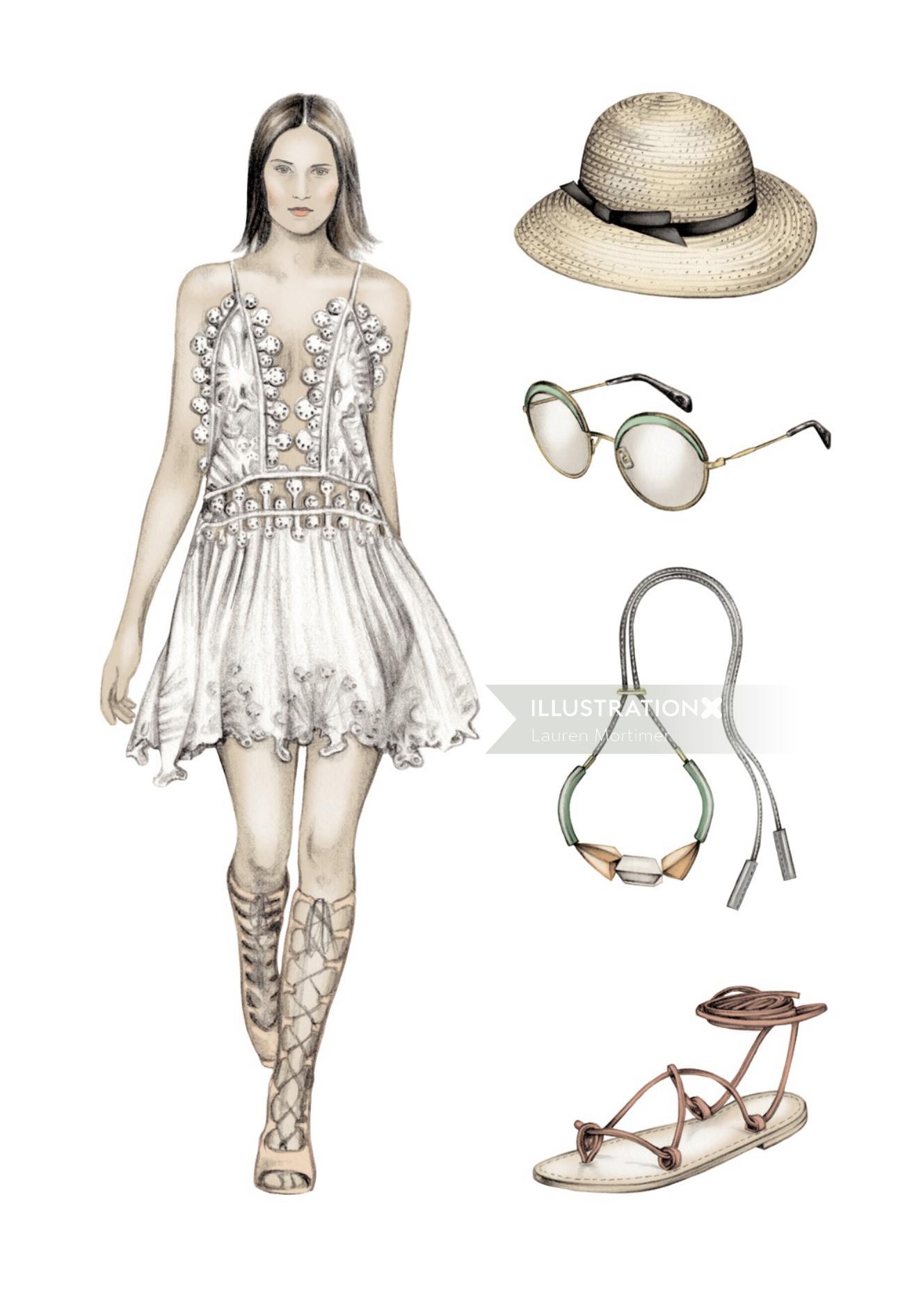 Fashion sketch of beautiful lady