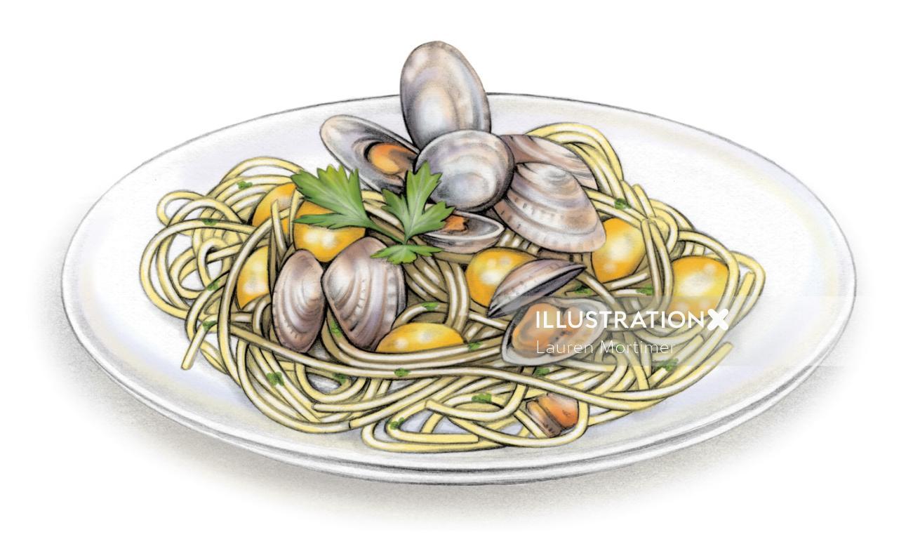 Noodles Food Artwork By London Based Illustrator