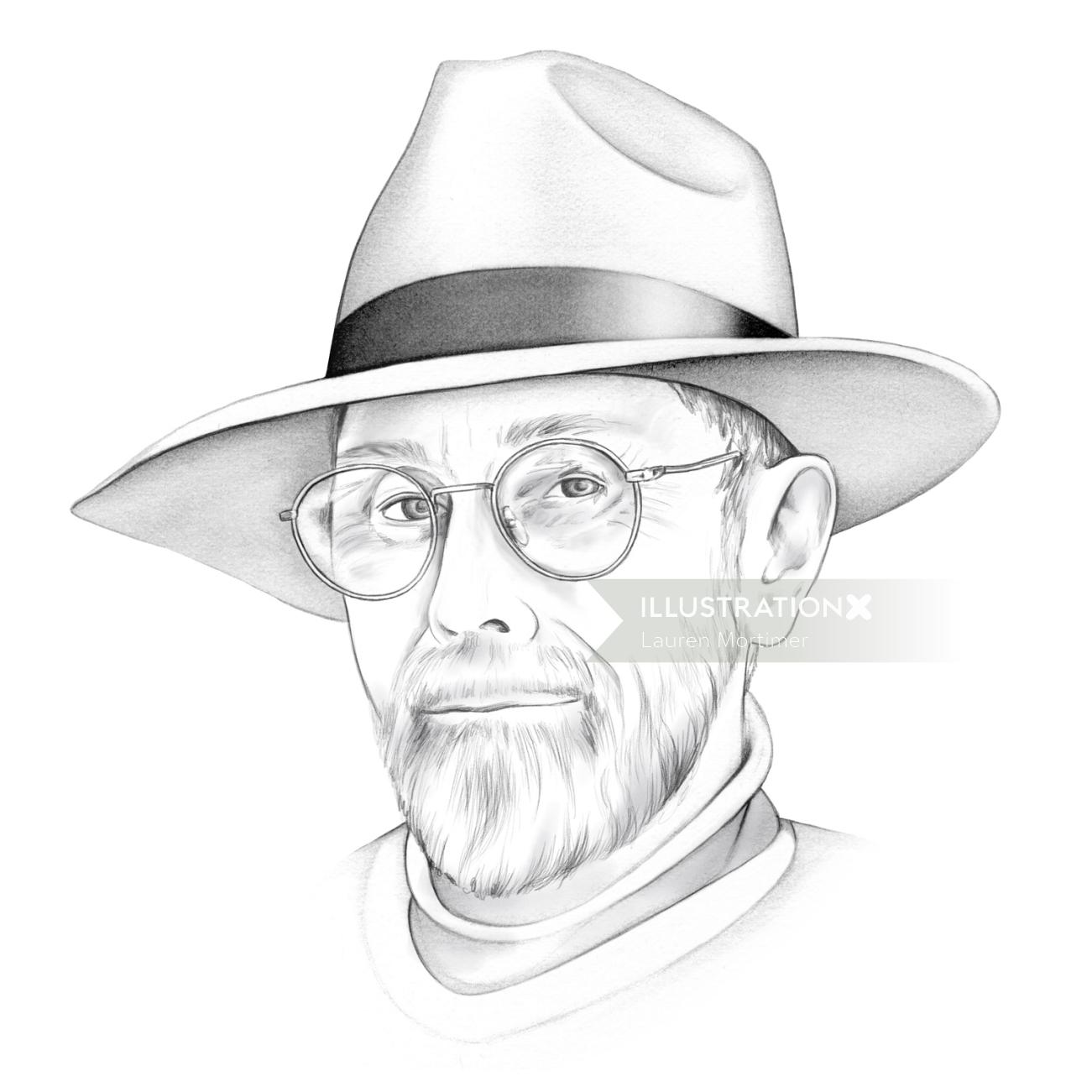 Pencil Drawing Of Old Man Wearing Hat