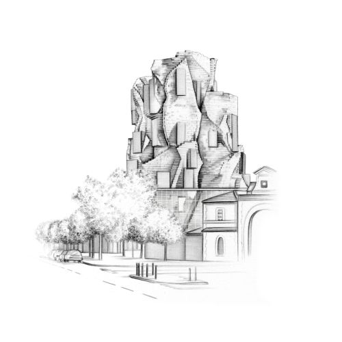 Architectural Street Scene Drawing