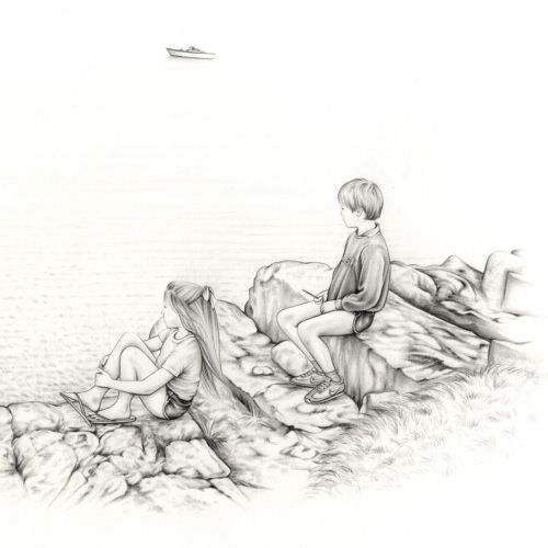 Line art of two kids sit together on a lake