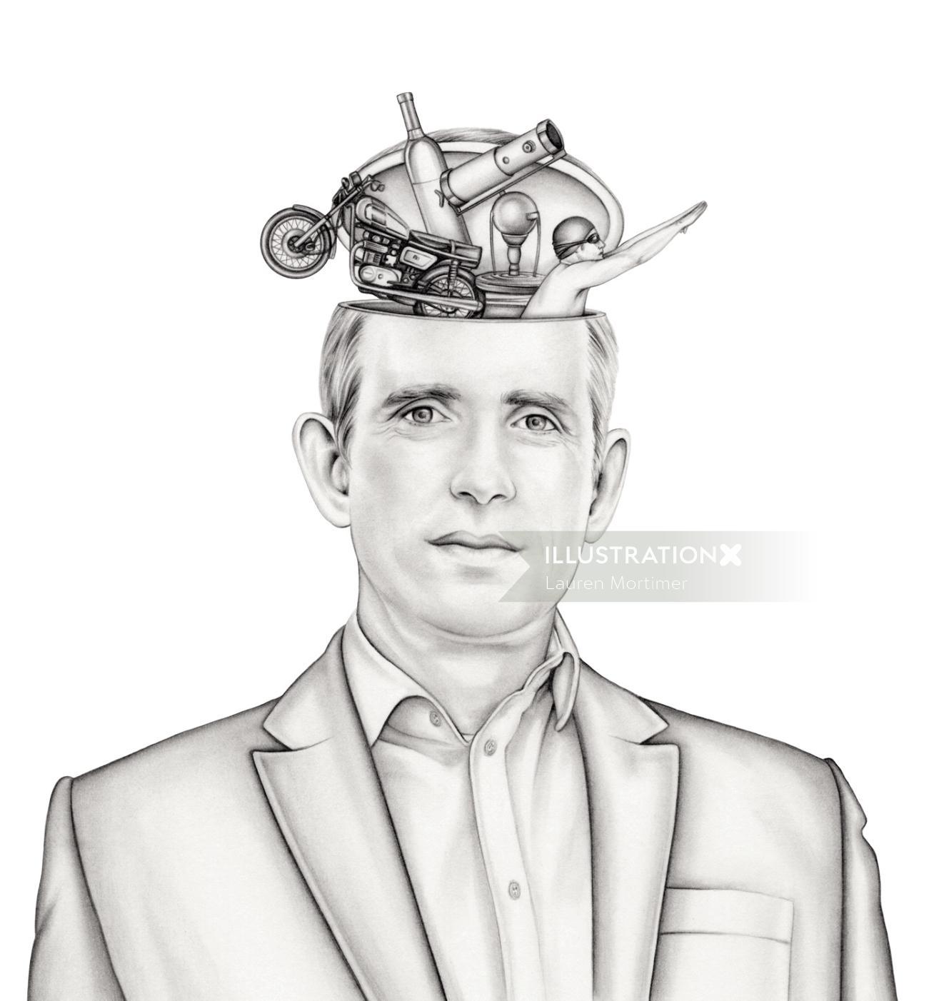 Man headspace Pencil Sketch By Lauren Mortimer