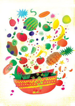 Fruits falling in a pot painting