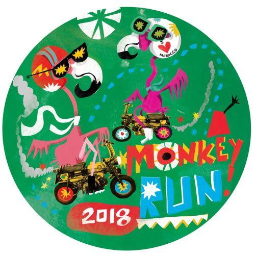 Character design of monkey run sticker