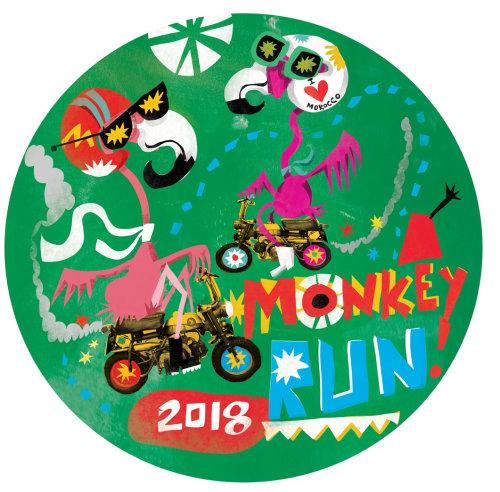 Diseño de personajes de mono run sticker
