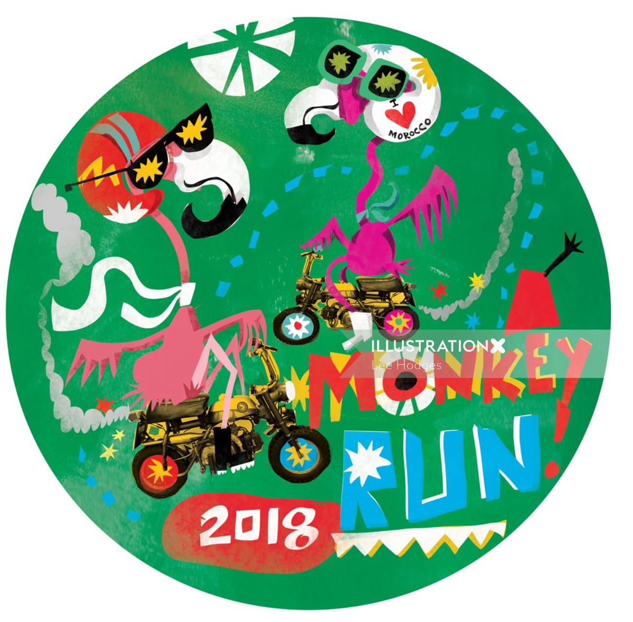 Character design of monkey run sticker