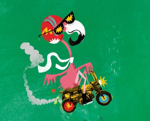 Flamingo em uma animação de bicicleta