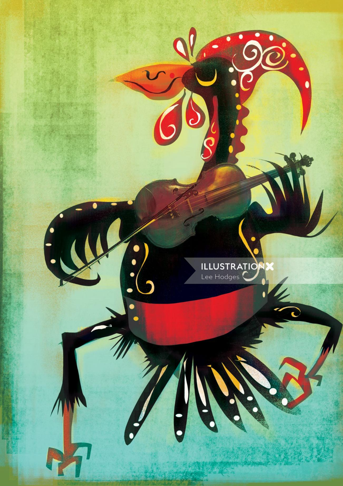 Latin musical bird illustration by Lee Hodges