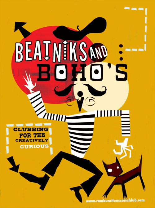Beatniks and Bohos  Typographic poster