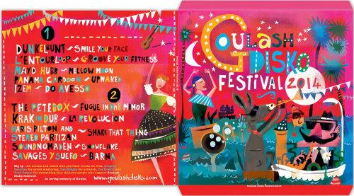 Ilustración de portadas de álbum del Festival Goulash Disko