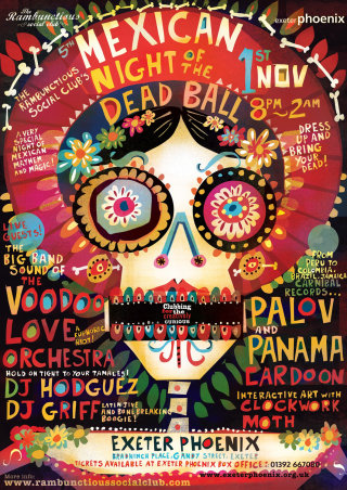 Poster illustration for the Mexican night of the dead ball