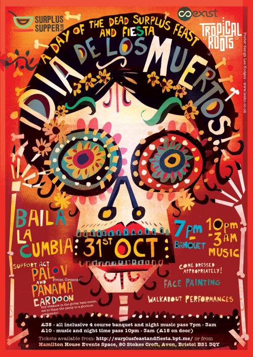 Ilustração de cartaz para o evento Dia de los Muertos