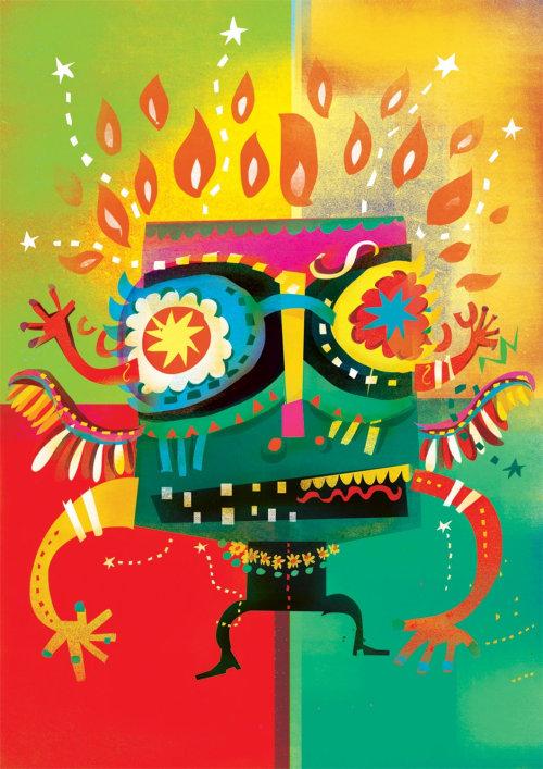 Una ilustración del baterista de carnaval de amor
