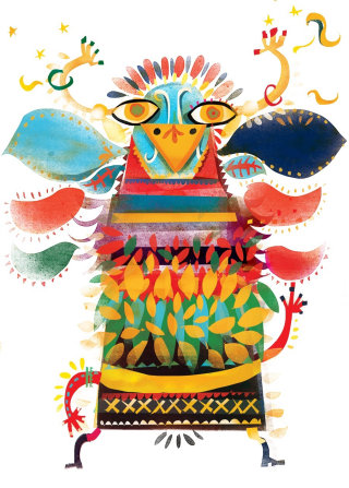 Bird man carnival illustration by Lee Hodges