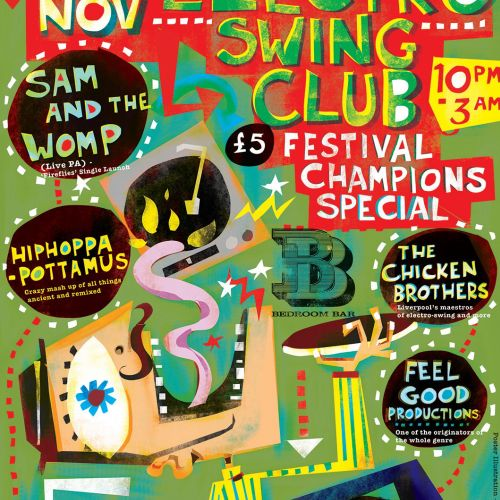Illustration for electro swing poster by Lee Hodges