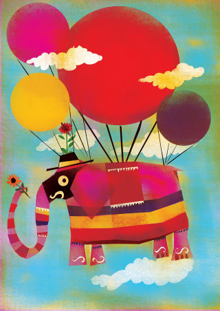 Elephant with balloons illustration by Lee Hodges