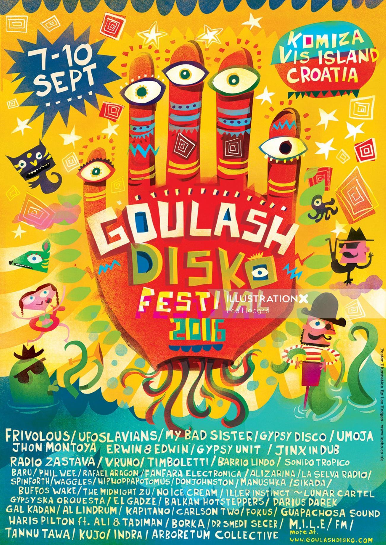 An illustration of Goulash disko festival