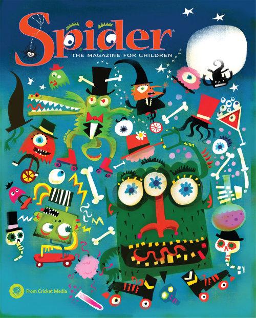 Diseño de póster para la revista Spider para niños
