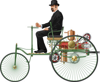 Illustration of a man on Benz Motorwagen