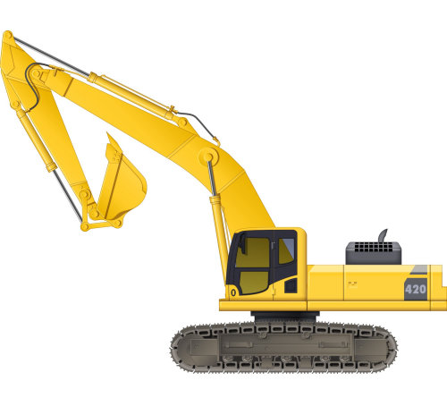 Illustration of caterpillar tracks digger